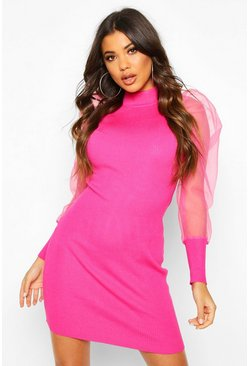 Womens Hot pink Organza Mesh Puff Sleeve Mini Dress