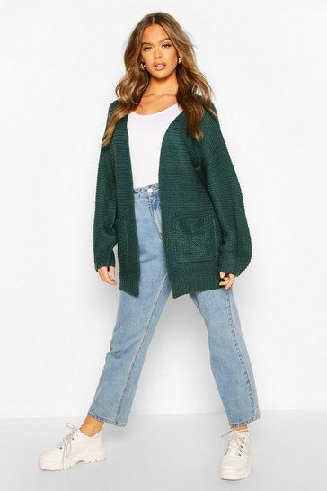 Womens Emerald Rib Knit Balloon Sleeve Cardigan