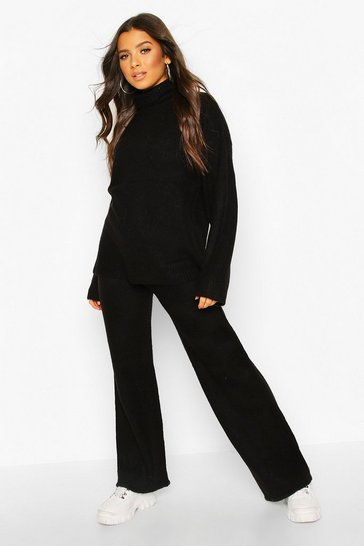 Womens Black Roll Neck Knitted Set
