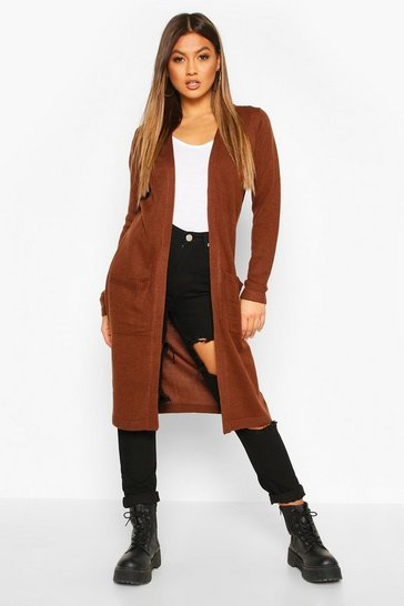 Womens Chocolate Midi Edge To Edge Pocket Cardigan
