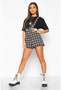 Womens Black Dogtooth Check Pinafore Short