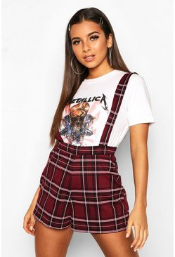 Womens Berry Checked Pinafore Short