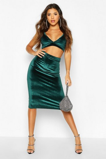 Womens Teal Velvet Midaxi Skirt
