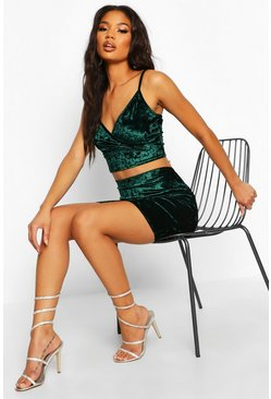Womens Emerald Crushed Velvet Strappy Crop And Mini Skirt Co-Ord