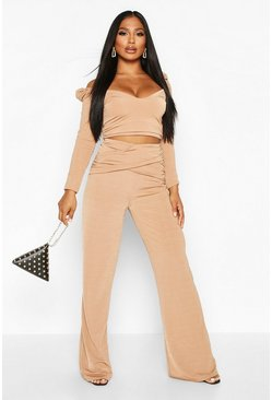 Camel Slinky Rouched Puff Sleeve Top And Wide Leg Trouser Co-ord