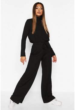 Womens Black Soft Rib High Neck Top And Wide Leg Trouser Co-ord
