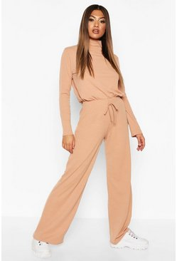 Soft Rib Top And Wide Leg Trouser Co-ord Set, Camel