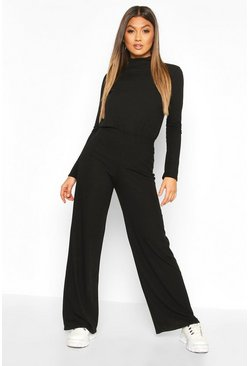 Womens Black Soft Rib Roll Neck Top And Legging Co-Ord