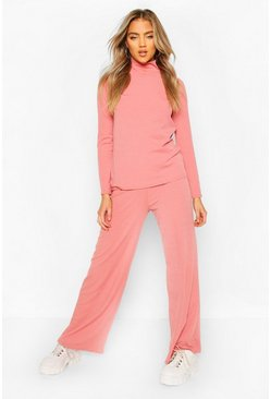 Dusky pink Soft Rib Roll Neck Top And Legging Co-Ord