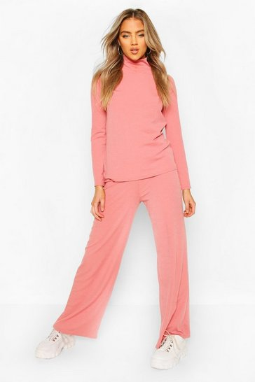 Womens Dusky pink Soft Rib Roll Neck Top And Legging Co-Ord