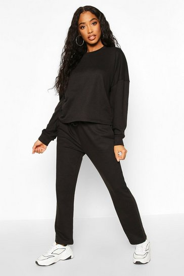 Womens Black Long Sleeve Boxy Top And Jogger Co-Ord