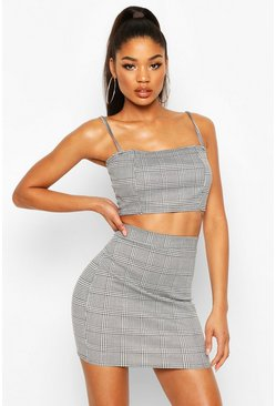 Womens Black Dogtooth Check Strap Crop Mini Skirt Co-Ord Set