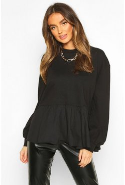 Womens Black Long Sleeve Peplum Sweat