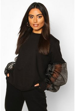 Womens Black Organza Sleeve Sweat