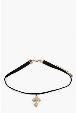 Womens Gold Cross Choker