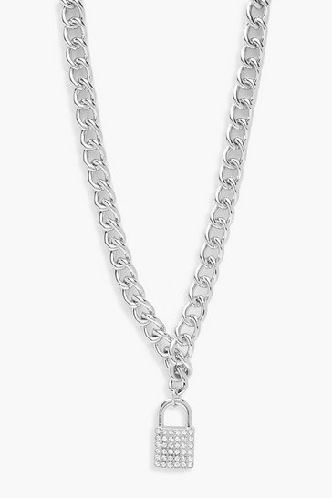 Womens Silver Diamante Statement Chain Necklace