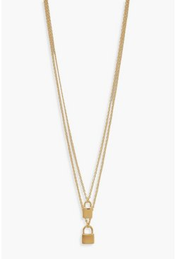 Womens Gold Double Padlock Layered Necklace