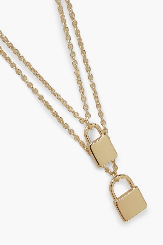 Double Padlock Layered Necklace