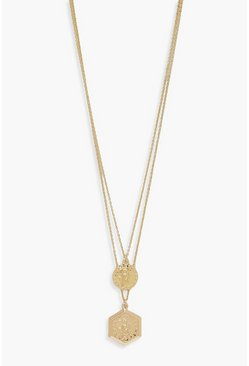 Womens Gold Coin Detail Layered Necklace