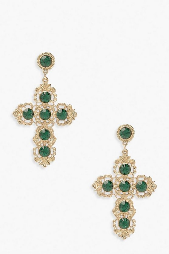Statement Gem Cross Earrings