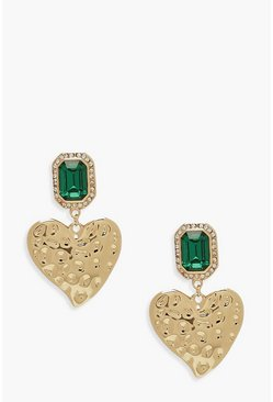 Womens Gold Statement Gem Heart Earrings