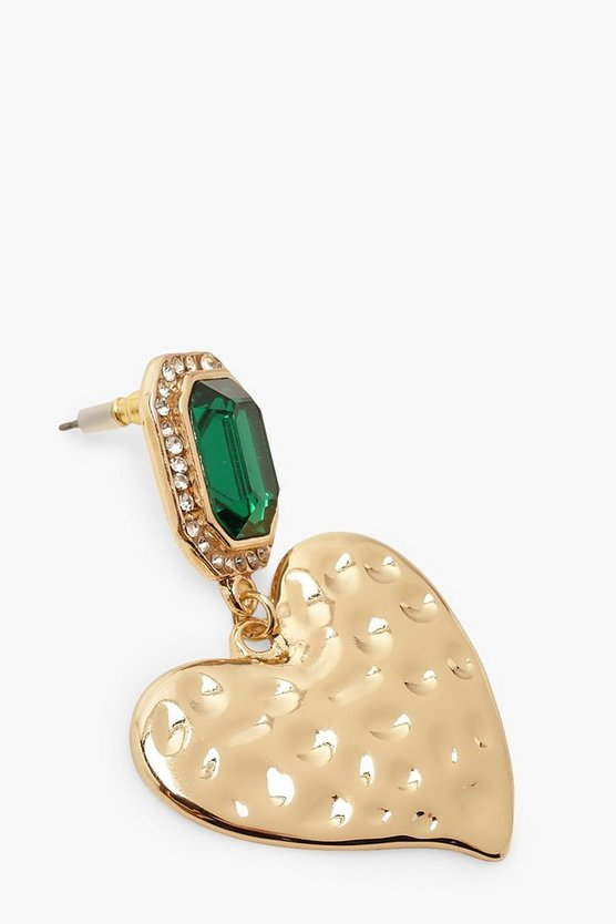 Statement Gem Heart Earrings