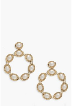 Womens Gold Statement Pearl Earrings