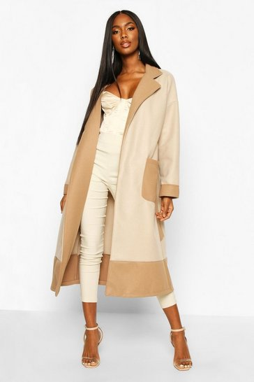 Womens Stone Tonal Contrast Belt Wool Look Robe Coat