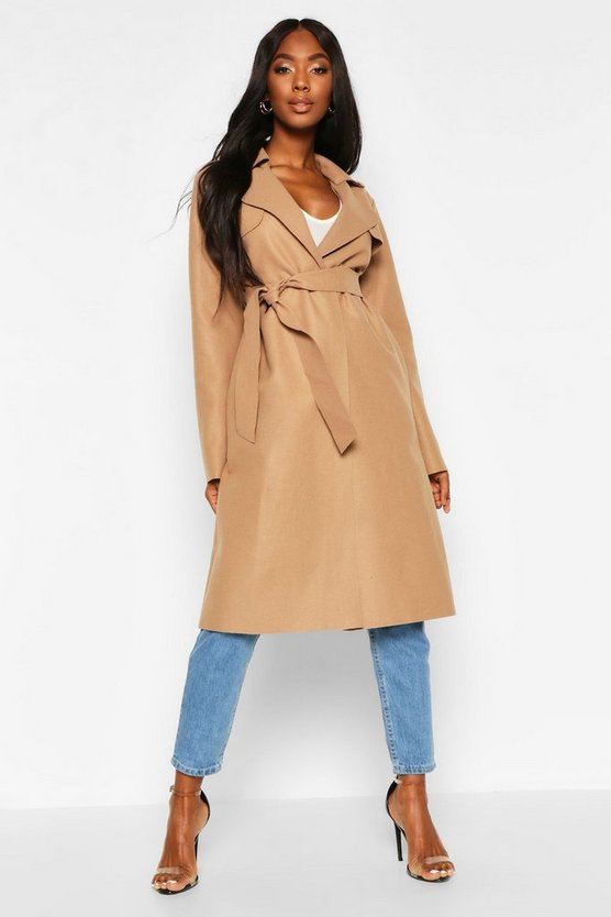 Camel Trench Robe Belt Wool Look Coat