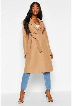 Dam Camel Trench Robe Belt Wool Look Coat