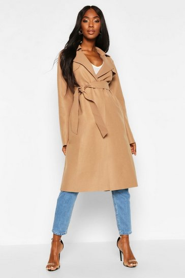 Womens Camel Trench Robe Belt Wool Look Coat