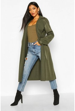 Womens Khaki Trench Robe Belt Wool Look Coat