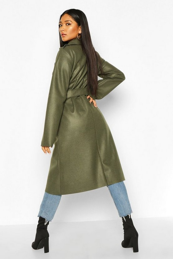 Trench Robe Belt Wool Look Coat