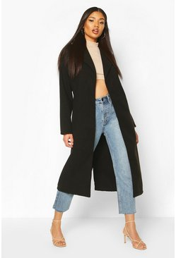 Black Oversized Wide Collar Robe Coat