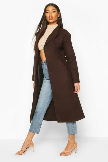 Chocolate Oversized Wide Collar Robe Coat