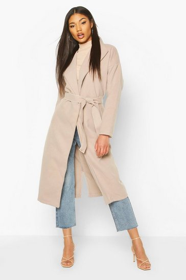 Womens Stone Oversized Wide Collar Robe Coat