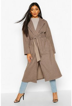 Womens Chocolate Tonal Check Belted Wool Look Coat