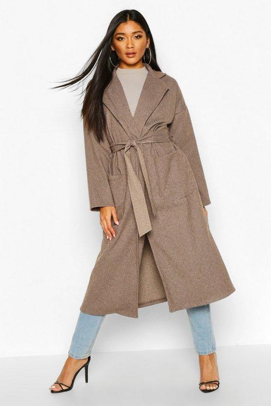 Tonal Check Belted Wool Look Coat