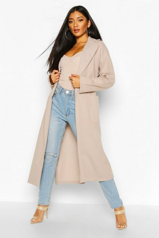 Stone Tonal Check Belted Wool Look Coat
