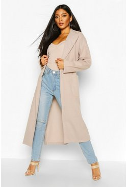 Tonal Check Belted Wool Look Coat, Stone