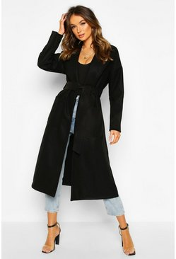 Womens Black Oversized Robe Belted Coat