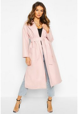 Blush Oversized Robe Belted Coat