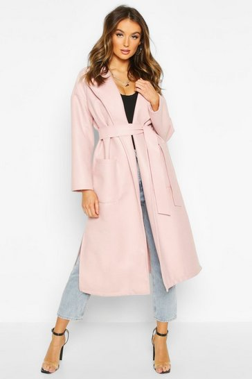 Womens Blush Oversized Robe Belted Coat