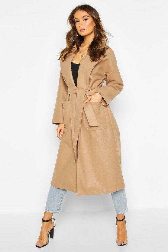 Womens Camel Oversized Robe Belted Coat