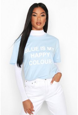 "Charity T-Shirt mit ""My Happy Colour""-Motiv, Blau"