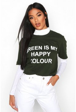 "Charity T-Shirt mit ""My Happy Colour""-Motiv, Grün"