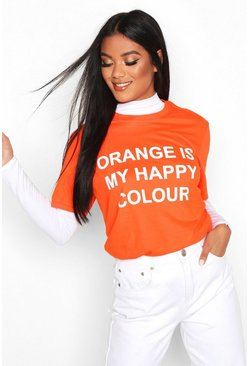 "Charity T-Shirt mit ""My Happy Colour""-Motiv, Orange"