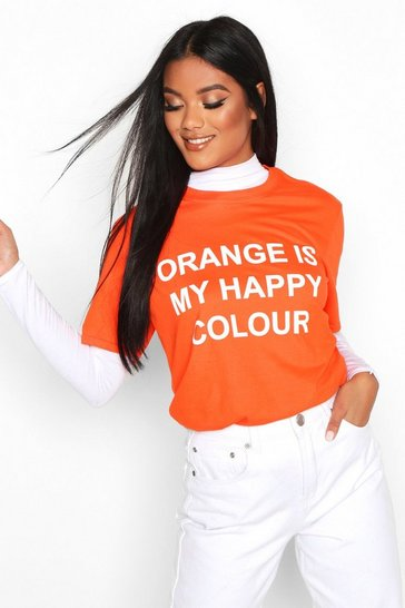 Womens Orange My Happy Colour Charity T-Shirt