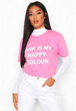 Womens Pink My Happy Colour Charity T-Shirt