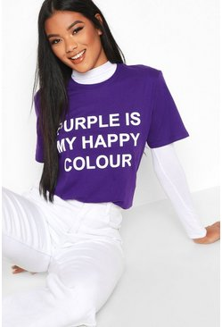 "Charity T-Shirt mit ""My Happy Colour""-Motiv, Violett"